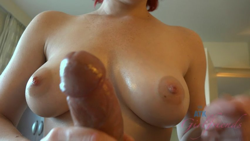 Katie's perfect tits and handjob skills make it easy for you to cum